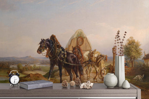 3D countryside horse oil painting wall mural wallpaper 51