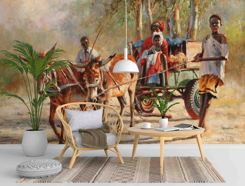 3D African Steppe Carriage Wall Mural Wallpaper 34