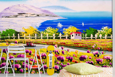 3D Flowers Field Sea Landscape Oil Painting Wall Mural Wallpaper SF33