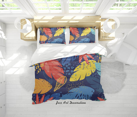 3D Hand Drawn Colored Leaves Quilt Cover Set Bedding Set Duvet Cover Pillowcases 2
