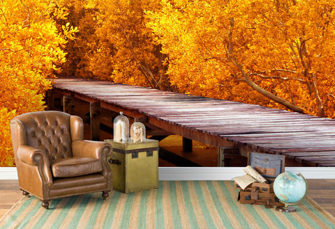 3D Golden Forest Plank Road Wall Mural Wallpaper 19