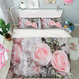 3D Pink White Rose Quilt Cover Set Bedding Set Pillowcases 55