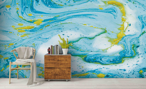 3D Blue Ocean Texture Marble Wall Mural Wallpaper 191