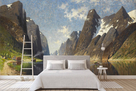3D mountain gorge oil painting wall mural wallpaper 42