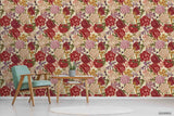 3D Hand Sketching Red Floral Plant Wall Mural Wallpaper LXL 1312