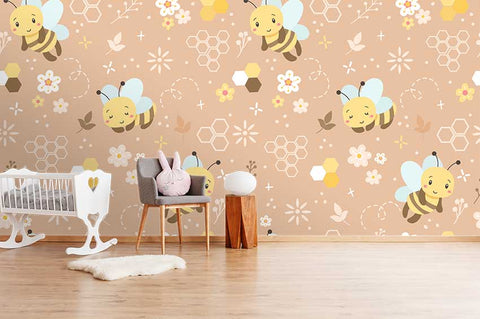 3D Cartoon Bee Hive Wall Mural Wallpaper A181 LQH