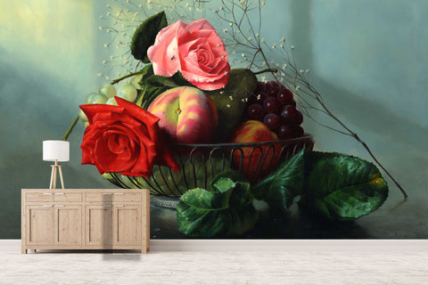 3D Fruit Apple Grapes Flowers Wall Mural Wallpaper SF16