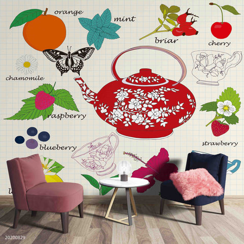 3D Vintage Butterfly Floral Teapot Fruity Tea Cup Wall Mural Wallpaper LXL 1591