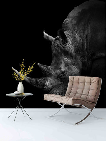3D Black Rhinoceros Wall Mural Wallpaper 66