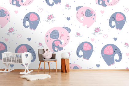 3D cartoon pink elephants wall mural wallpaper 32