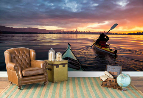 3D Seaside City Sunset Wall Mural Wallpaper 69
