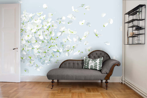 3D White Flower Background Wall Mural Wallpaper   34