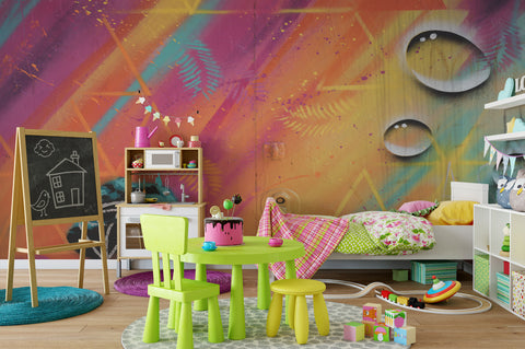 3D Multi-color Graffiti Wall Mural Wallpaper 111