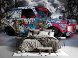 3D Human Skeleton Graffiti Car Lighting Mural Wallpaper WJ 1338