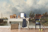 3D riverside village oil painting wall mural wallpaper 64