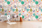 3D Cartoon Colorful Floral Leaves Plant Wall Mural Wallpaper LXL 1538