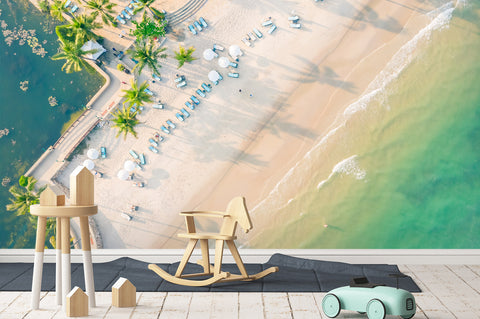 3D sea beach trees wall mural wallpaper 61