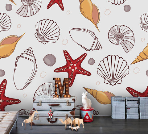 3D Cartoon Starfish Shell Wall Mural Wallpaper 28
