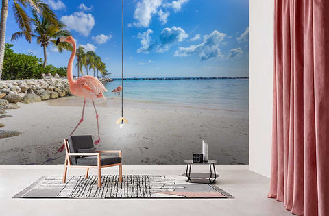 3D Blue Sky Sea Flamingo Wall Mural Wallpaper 87