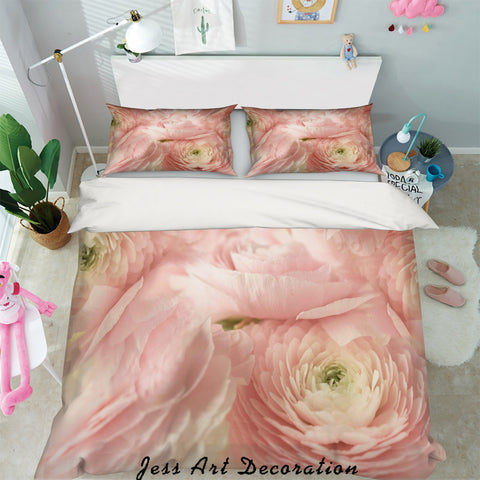3D Pink Rose Floral Quilt Cover Set Bedding Set Pillowcases 05