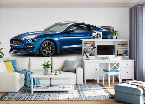 3D Blue Car Wall Mural Wallpaper 02