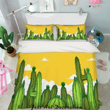 3D Watercolor Green Cactus Quilt Cover Set Bedding Set Pillowcases 86