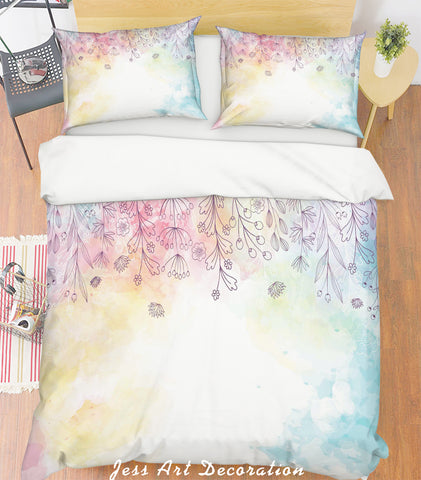 3D Watercolor Leaves Quilt Cover Set Bedding Set Pillowcases 103
