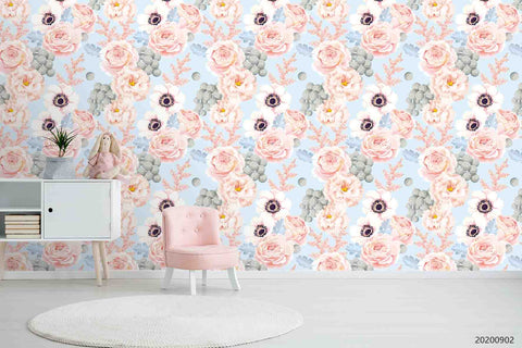3D Hand Sketching Pink Floral Leaves Plant Wall Mural Wallpaper LXL 1282