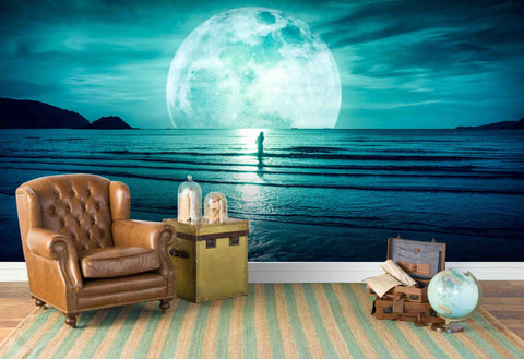3D Sea Moon Wall Mural Wallpaper 89