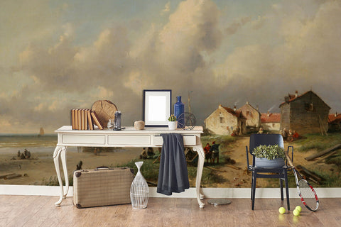 3D seaside fishing village oil painting wall mural wallpaper 71