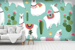 3D alpaca cactus wall mural wallpaper 54