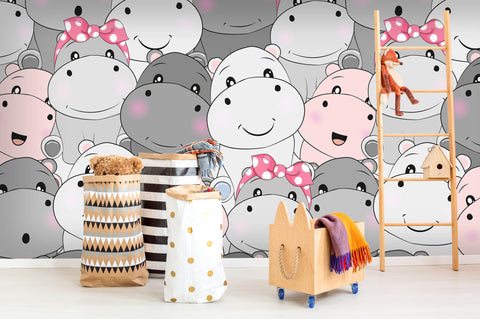 3D cartoon hippo wall mural wallpaper 18