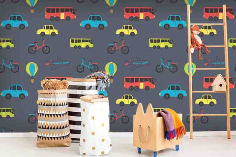3D Cartoon Colorized Car Bus Balloon Airplane Bicycle Wall Mural Wallpaper ZY D90