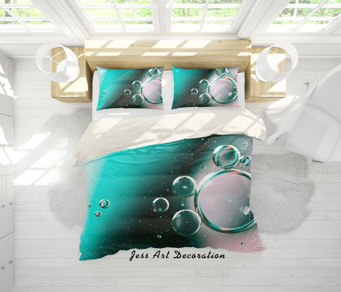 3D Green Water Drop Quilt Cover Set Bedding Set Pillowcases 52