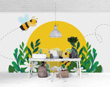 3D Hand Skrtching Moon Bee Floral Plant Wall Mural Wallpaper LXL 1442