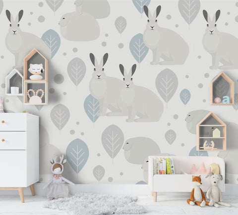 3D Cartoon Grey Rabbit Tree Wall Mural Wallpaper 96