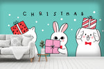 3D Cartoon Christmas Animals Wall Mural Wallpaper 05