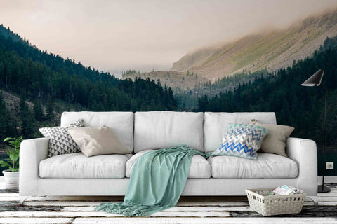 3D fog forest wall mural wallpaper 42