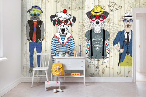 3D Cartoon Animals Dogs Cloth Floral Wall Mural Wallpaper 36 - Jessartdecoration