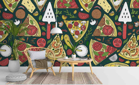 3D Cartoon Pizza Wall Mural Wallpaper SF09