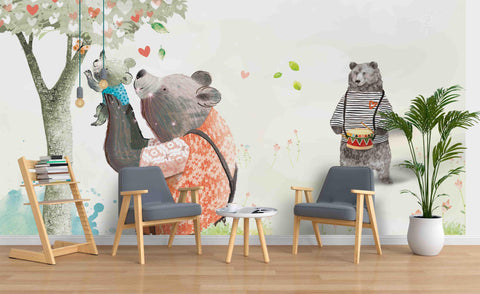 3D Cartoon Bear Family Wall Mural Wallpaper 51