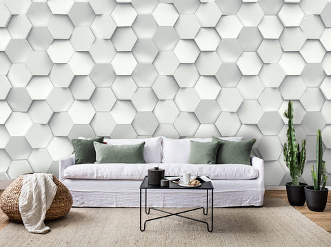 3D Hexagon White Pattern Combination  Wall Mural Wallpaper 57