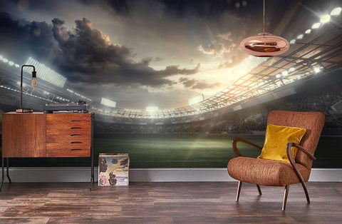 3D Dusk Football Field Wall Mural Wallpaper 09