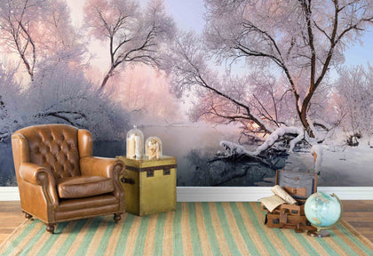 3D Snow Lake Forest Wall Mural Wallpaper 78