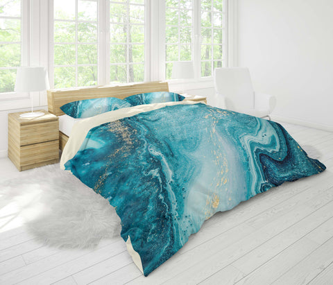 3D Blue Abstract Marble Texture Quilt Cover Set Bedding Set Pillowcases 128