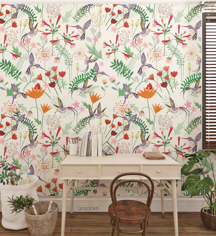 3D Hand Sketching Bird Floral Plant Wall Mural Wallpaper LXL 1444