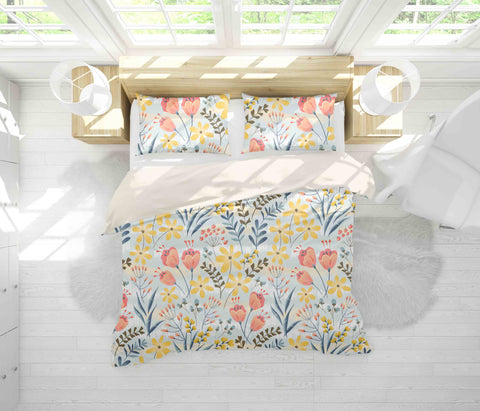 3D Yellow Flowers Quilt Cover Set Bedding Set Pillowcases 45