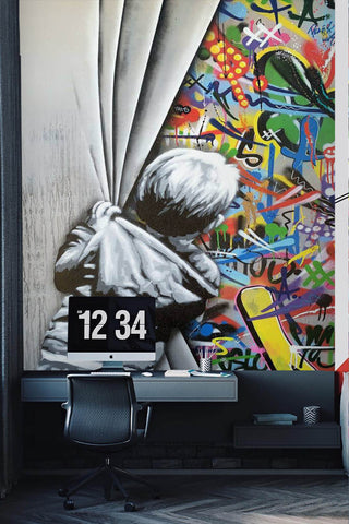 3D Boy Curtain Colourful World Banksy Mural Wall Mural Wallpaper ZY D99