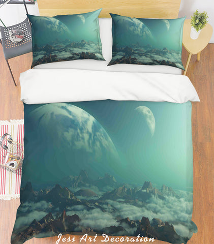 3D Planetary Mountains Quilt Cover Set Bedding Set Pillowcases 177
