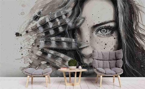 3D Hand Painting Beauty Feathers Wall Mural Wallpaper 109
